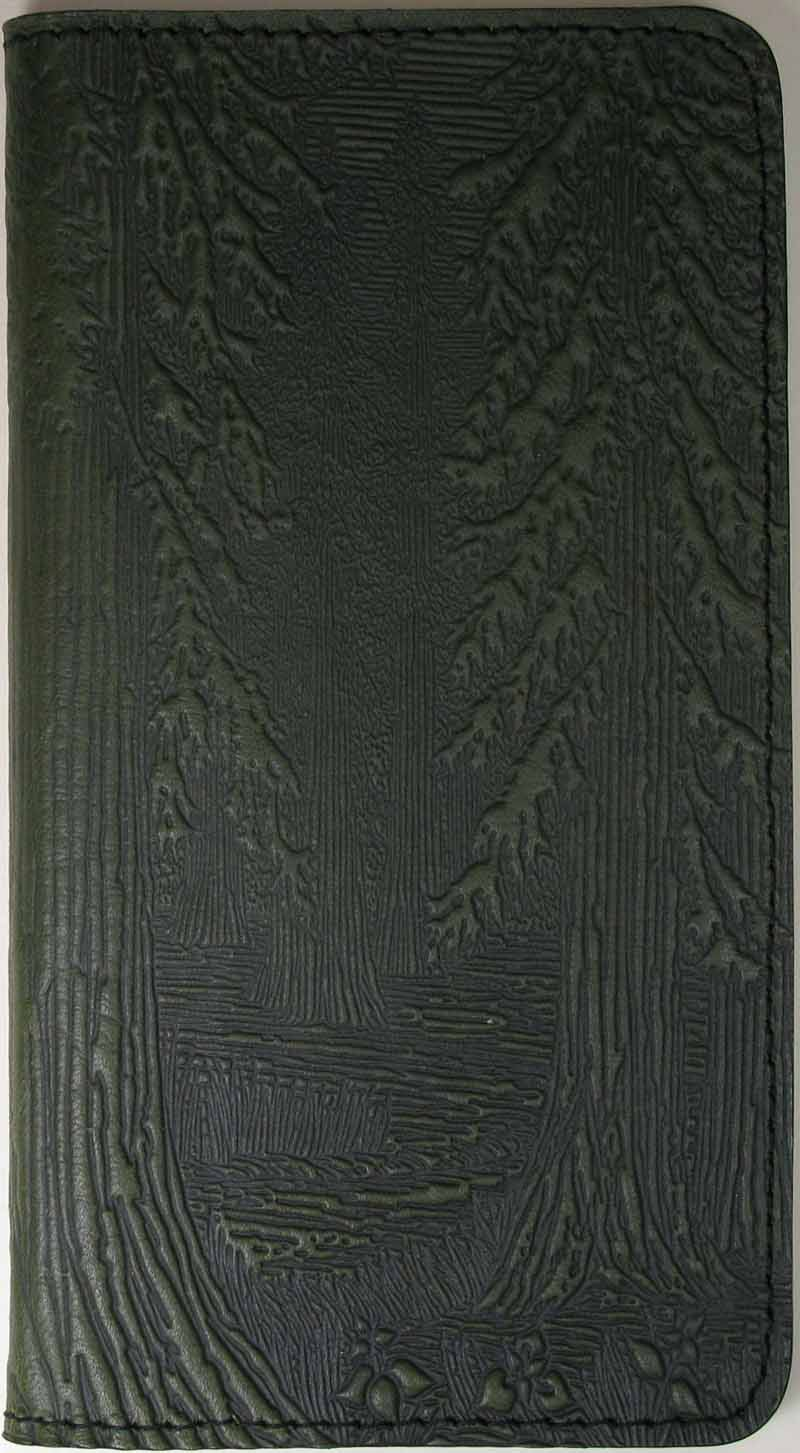 Leather Checkbook Cover - Forest in Fern